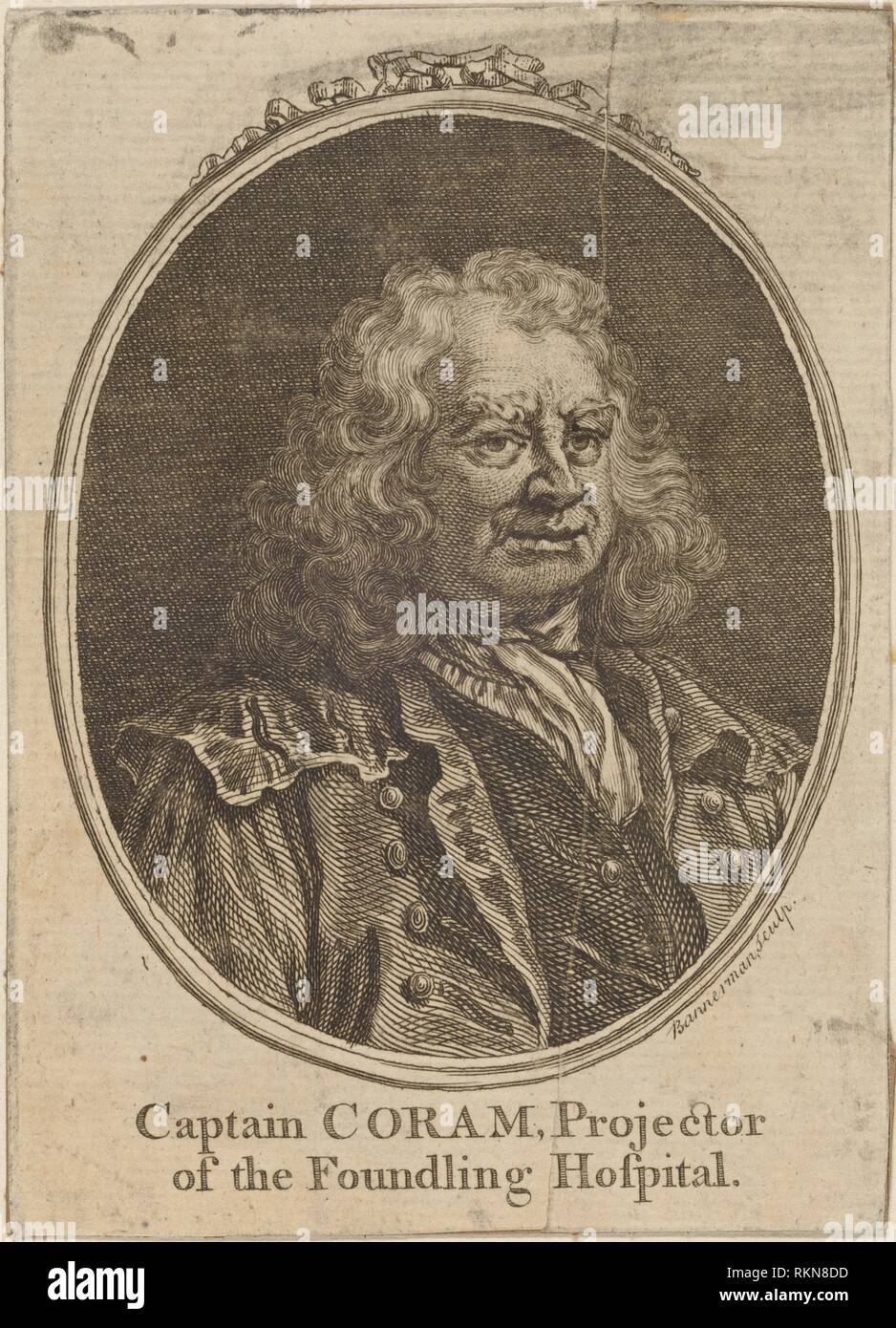 Captain Coram, Projector of the Foundling Hospital. Hogarth, William, 1697-1764 (Printmaker). William Hogarth: prints. Date Created: 1700. Prints. - Stock Image