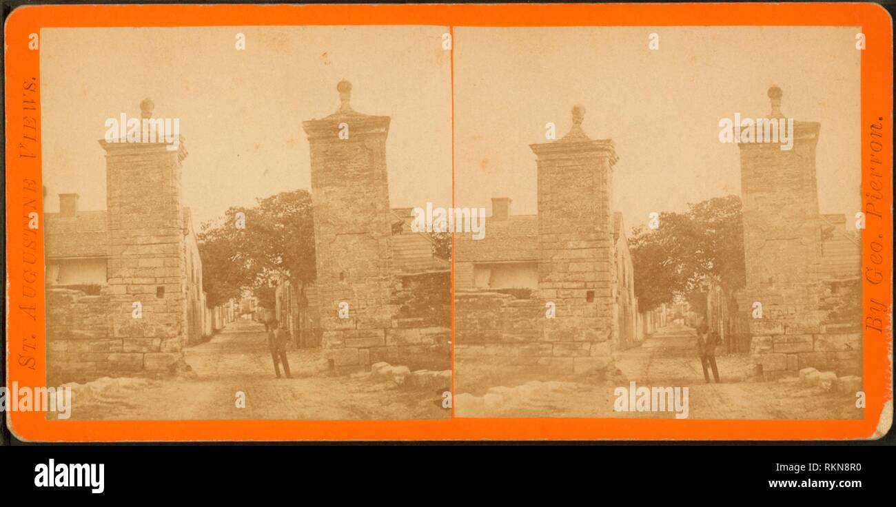 City gate. Additional title: St. Augustine views. Robert N. Dennis collection of stereoscopic views United States States Florida. Stereoscopic views Stock Photo