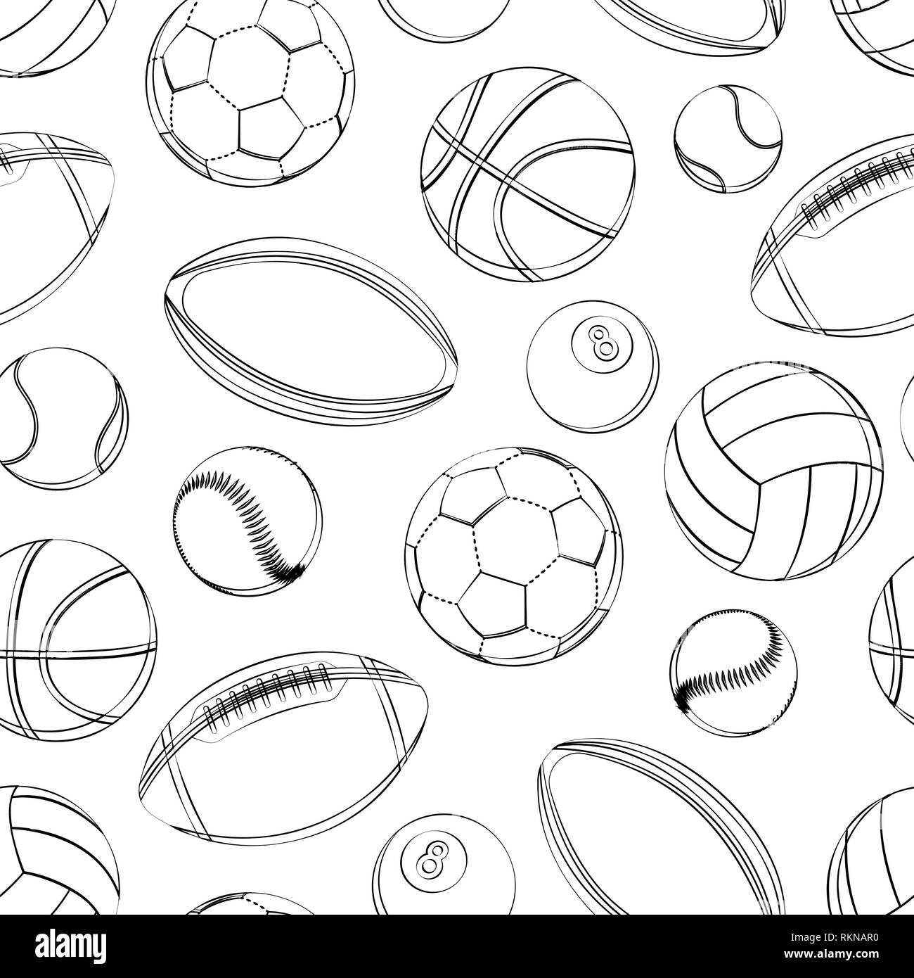 Sports balls seamless pattern soccer football tennis baseball basketball rugby american football volleyball outline black and white