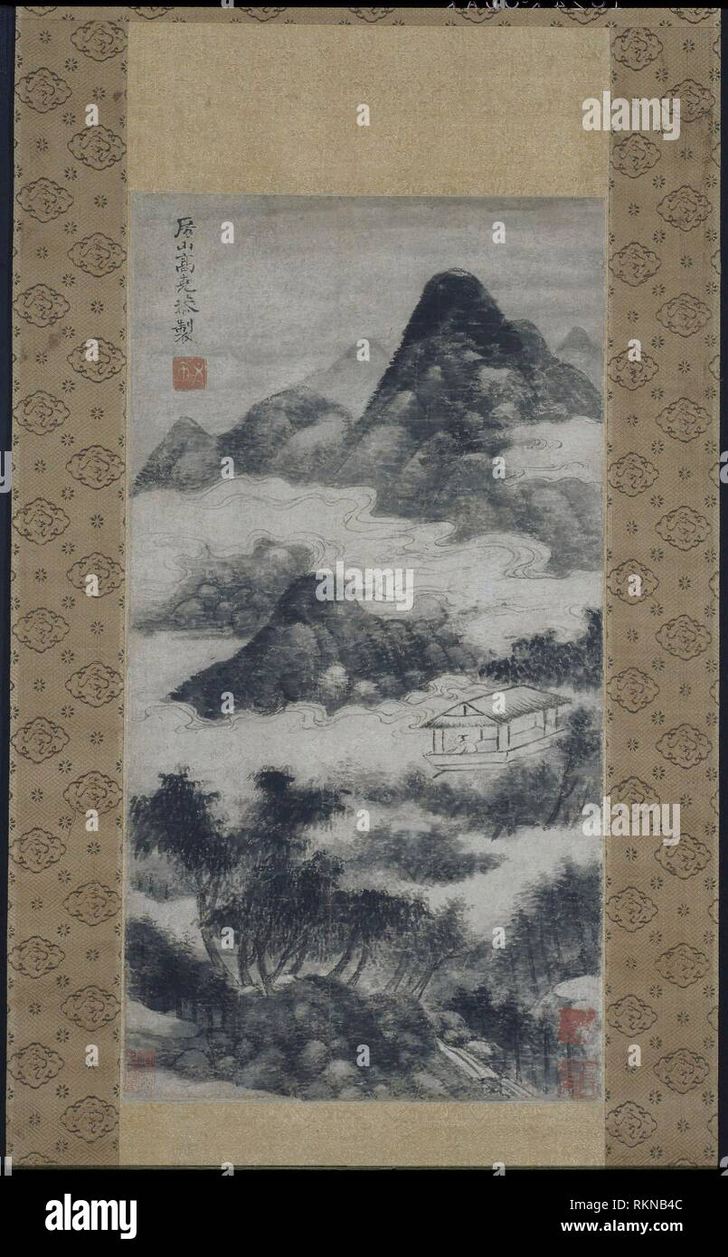 Scholar in Landscape - Yuan dynasty (1280–1368), 14th century or later - After Gao Kegong, 1248-1310, or later Chinese - Artist: Gao Kekong, Origin: - Stock Image