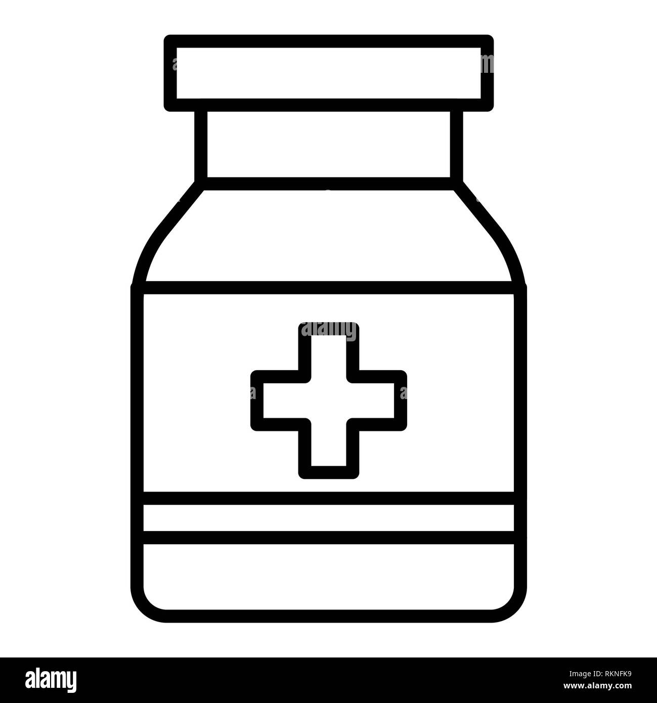 Medicine Icon, Vector Illustration, Healthcare Outline - Stock Image