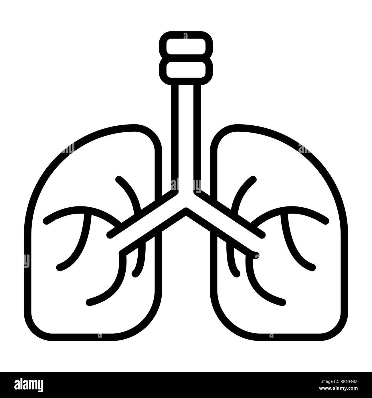 Lung Icon, Vector Illustration, Healthcare Outline - Stock Image