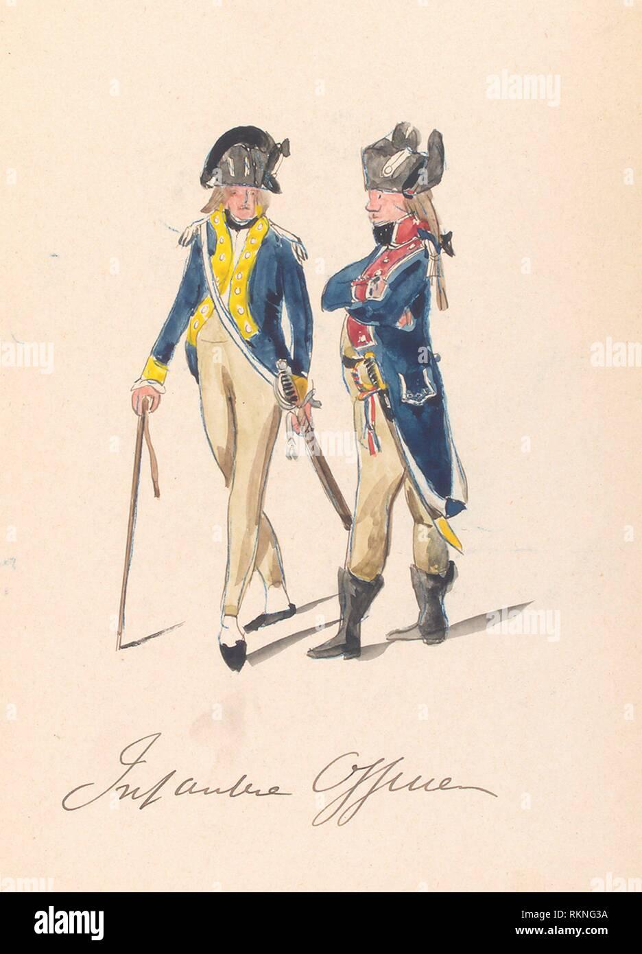 Bataafsche Republiek, Infanterie Officier. Vinkhuijzen, Hendrik Jacobus (Collector). The Vinkhuijzen collection of military uniforms Netherlands - Stock Image