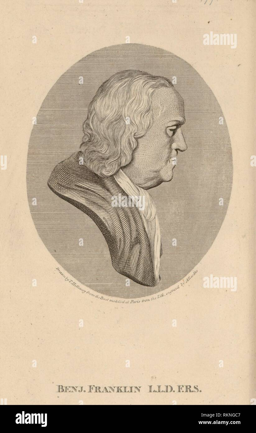 Benj. Franklin L.L.D. F.R.S. Additional title: Portrait of Benjamin Franklin. Mecom, Benjamin, 1732-ca. 1776 (Publisher) Franklin, Benjamin, - Stock Image