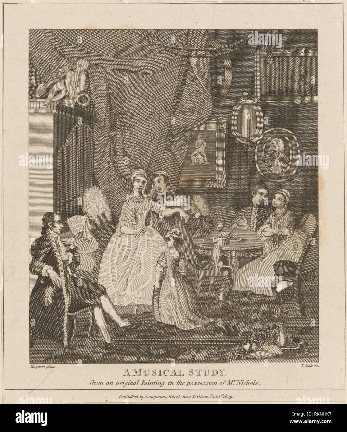 A Musical Study. Hogarth, William, 1697-1764 (Printmaker). William Hogarth: prints. Date Created: 1809. Prints. Still image. - Stock Image