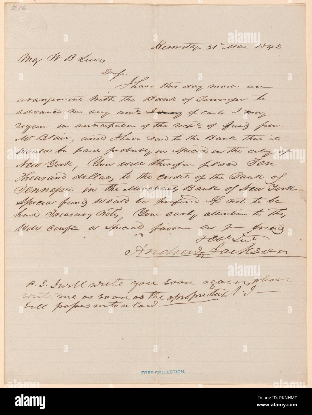 Andrew Jackson to William B. Lewis. Jackson, Andrew, 1767-1845 (Author) Lewis, William Berkeley, 1784-1866 (Addressee). Andrew Jackson and William B. - Stock Image