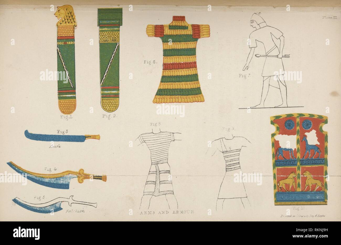 Arms and armour. Wilkinson, John Gardner, Sir, 1797-1875 (Author) Day & Haghe (Lithographer). Manners and customs of the ancient Egyptians, including - Stock Image