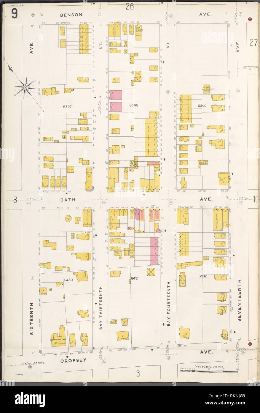 Brooklyn V. 12, Plate No. 9 [Map bounded by Benson Ave., 17th Ave., Cropsey Ave., 16th Ave.]. Sanborn Map Company (Publisher). Atlases of New York Stock Photo