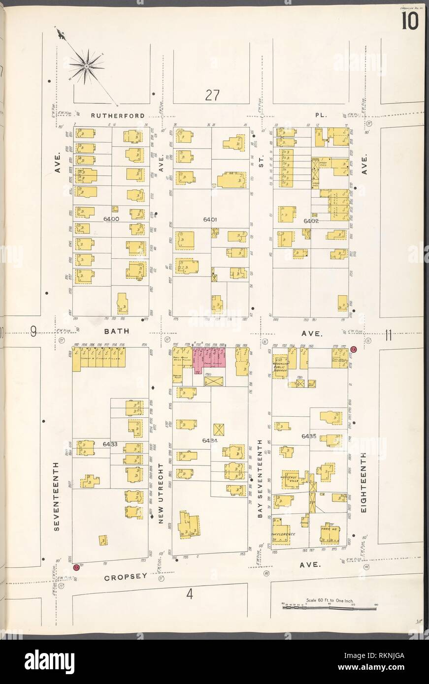 Brooklyn V. 12, Plate No. 10 [Map bounded by Rutherford Pl., 18th Ave., Cropsey Ave., 17th Ave.]. Sanborn Map Company (Publisher). Atlases of New Stock Photo
