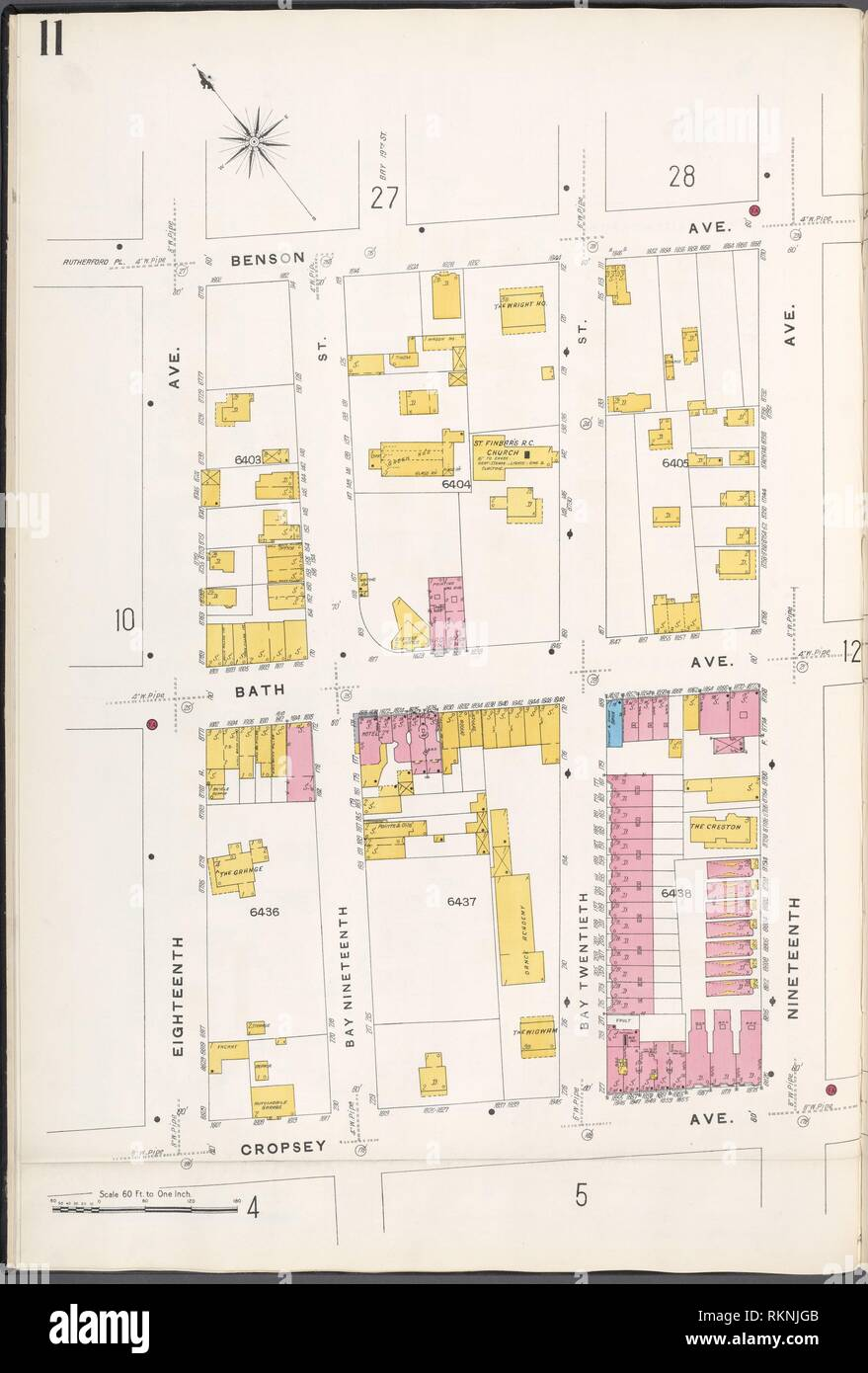 Brooklyn V. 12, Plate No. 11 [Map bounded by Benson Ave., 19th Ave., Cropsey Ave., 18th Ave.]. Sanborn Map Company (Publisher). Atlases of New York Stock Photo
