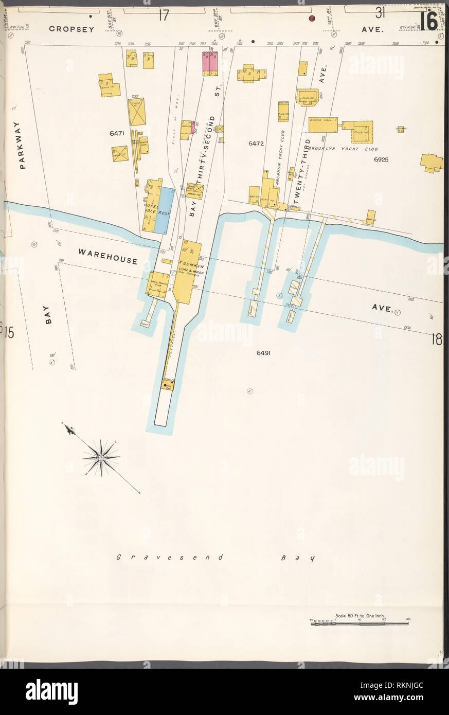 Brooklyn V. 12, Plate No. 16 [Map bounded by Cropsey Ave., Warehouse Ave., Bay Parkway]. Sanborn Map Company (Publisher). Atlases of New York City Stock Photo