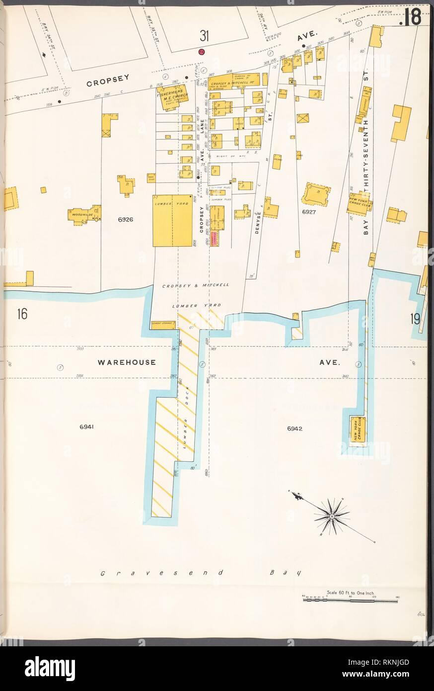 Brooklyn V. 12, Plate No. 18 [Map bounded by Cropsey Ave., Bay 37th St., Warehouse Ave.]. Sanborn Map Company (Publisher). Atlases of New York City Stock Photo