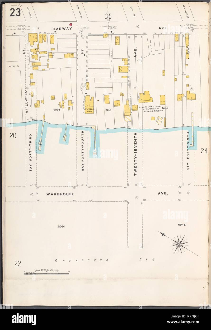 Brooklyn V. 12, Plate No. 23 [Map bounded by Harway Ave., Bay 46th St., Warehouse Ave., Bay 43rd St.]. Sanborn Map Company (Publisher). Atlases of Stock Photo