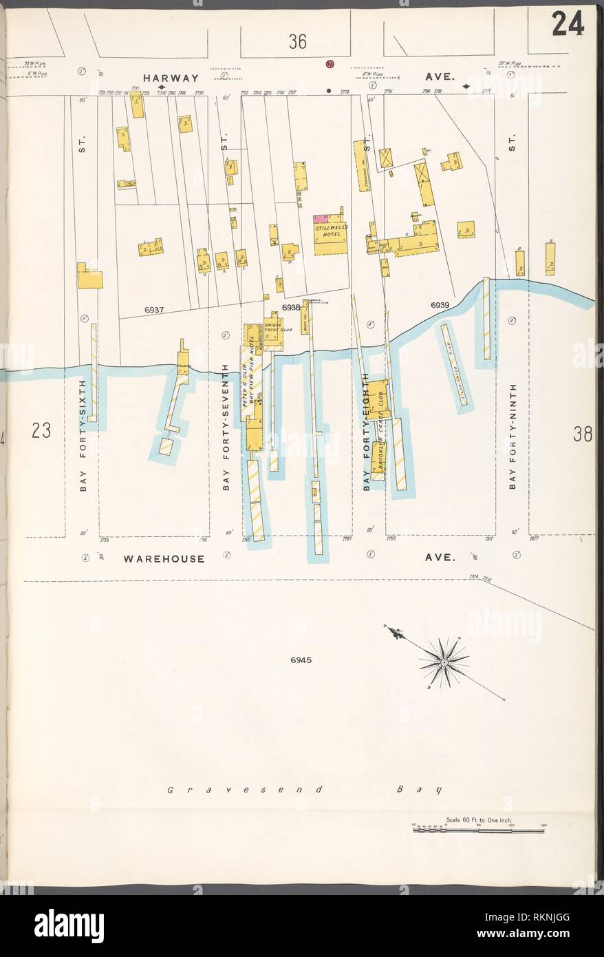 Brooklyn V. 12, Plate No. 24 [Map bounded by Harway Ave., Bay 49th St., Warehouse Ave., Bay 46th St.]. Sanborn Map Company (Publisher). Atlases of Stock Photo