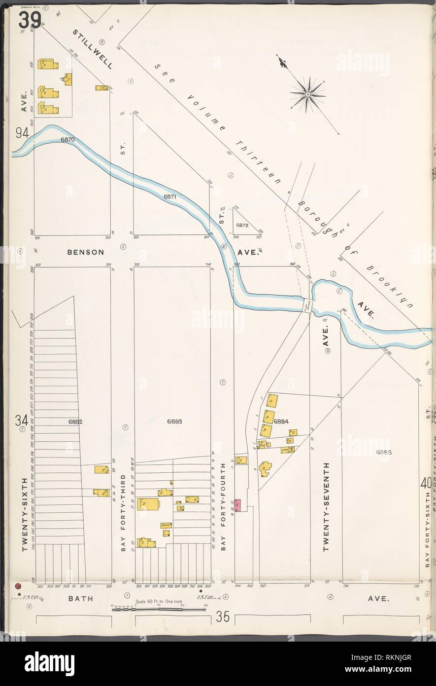 Brooklyn V. 12, Plate No. 39 [Map bounded by Stillwell Ave., Bay 46th St., Bath Ave., 26th Ave.]. Sanborn Map Company (Publisher). Atlases of New Stock Photo