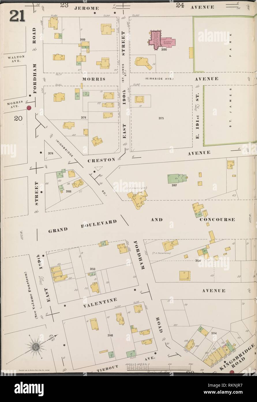 Bronx, V. 13, Plate No. 21 [Map bounded by Jerome Ave., Tiebout Ave., E. 189thSt.]. Sanborn Map Company (Publisher). Atlases of New York City New Stock Photo
