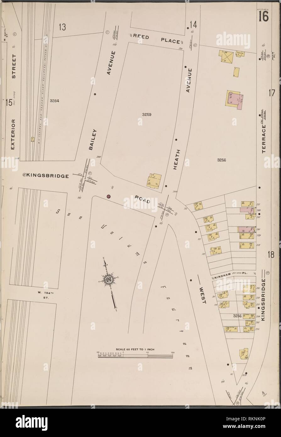 Bronx, V. 13, Plate No. 16 [Map bounded by Reed Pl., Kingsbridge Terrace, Kingsbridge Rd., Exterior St.]. Sanborn Map Company (Publisher). Atlases of Stock Photo
