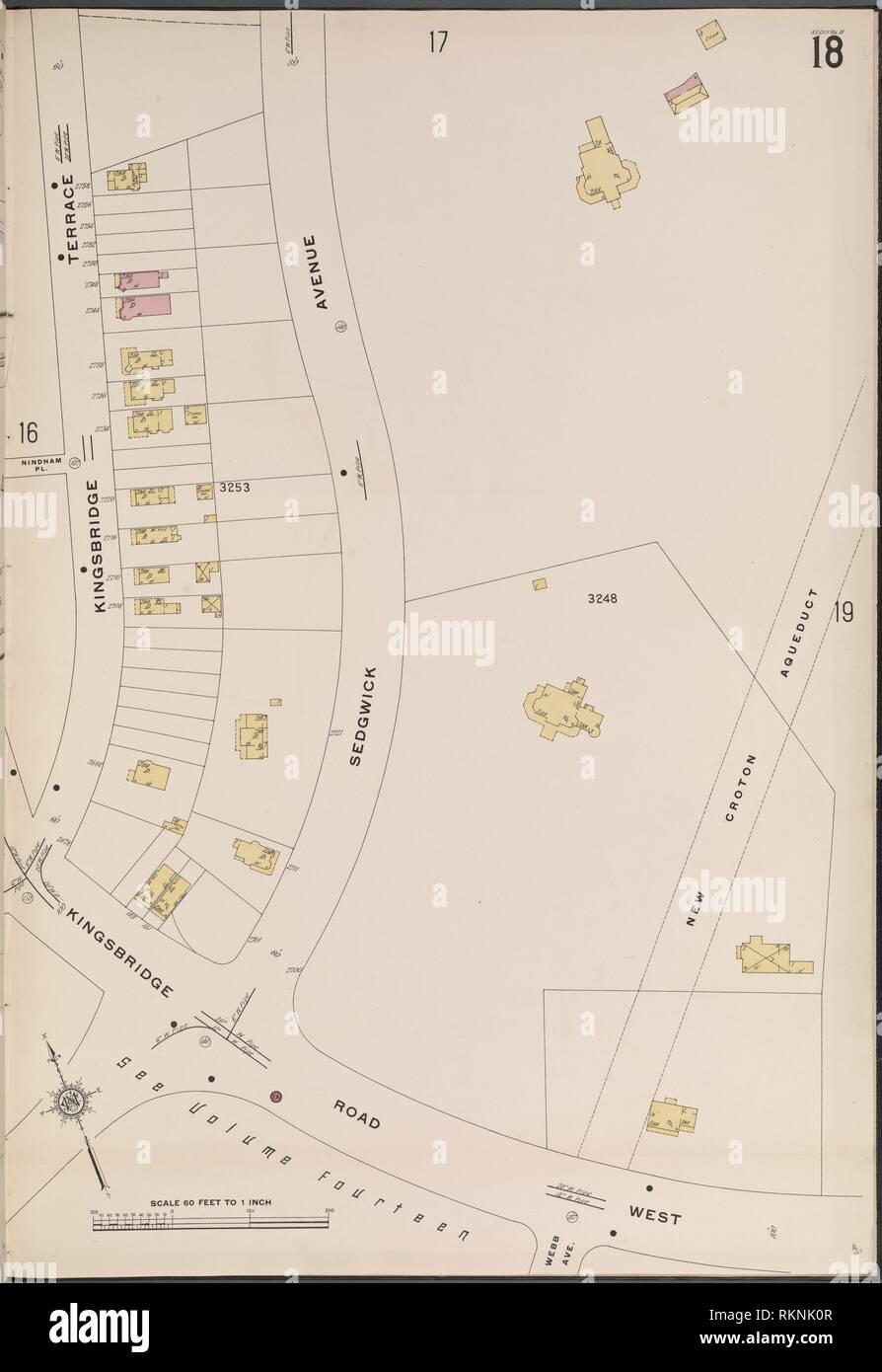 Bronx, V. 13, Plate No. 18 [Map bounded by Kingsbridge Terrace, New Croton Aqueduct, Kingsbridge Road West.]. Sanborn Map Company (Publisher). Stock Photo