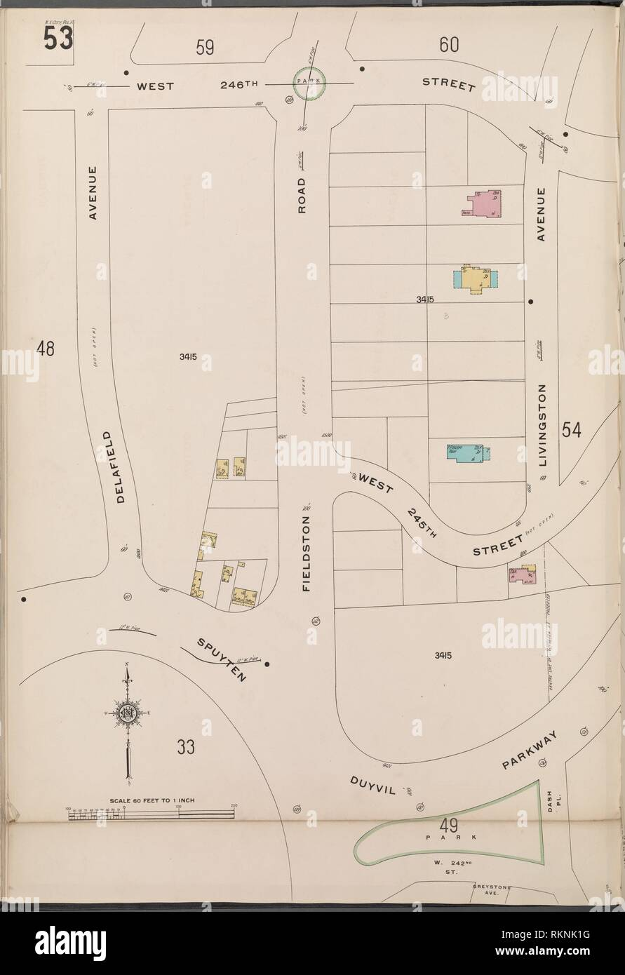 Bronx, V. 13, Plate No. 53 [Map bounded by W. 246th St., Livingston Ave., Spuyten Duyvil Parkway, Delafield Ave.]. Sanborn Map Company (Publisher). Stock Photo