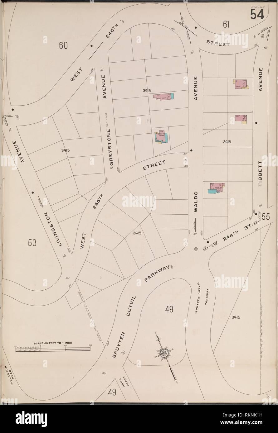 Bronx, V. 13, Plate No. 54 [Map bounded by W. 246th St., Tibbett Ave., Spuyten Duyvil Parkway, Livingston Ave.]. Sanborn Map Company (Publisher). Stock Photo