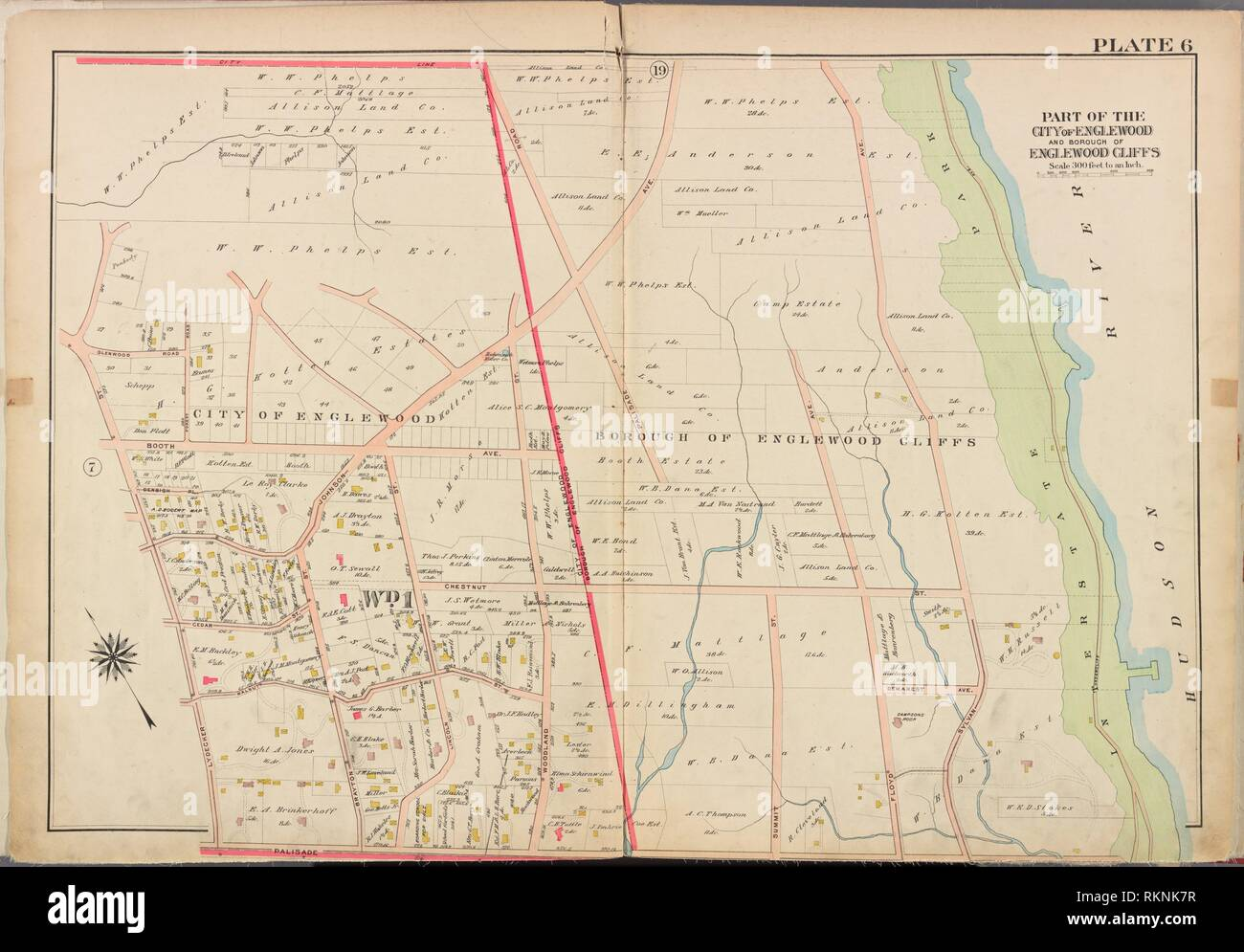 Bergen County, V. 1, Double Page Plate No. 6 [Map bounded by Hudson River, Palisade Ave., Lydecker St.]. Bromley, George Washington (Publisher) Stock Photo