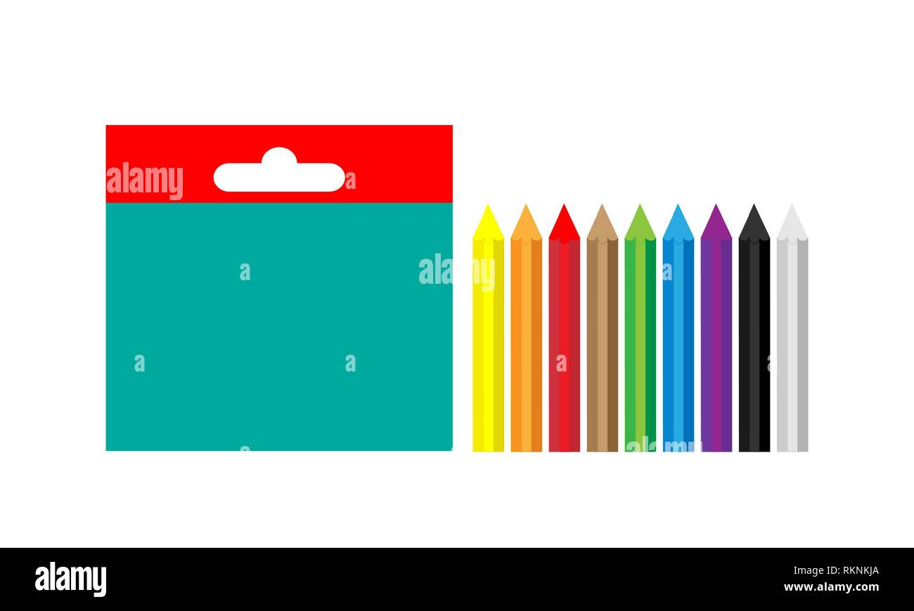 A set of multi-colored wax crayons for creativity. Vector. - Stock Vector