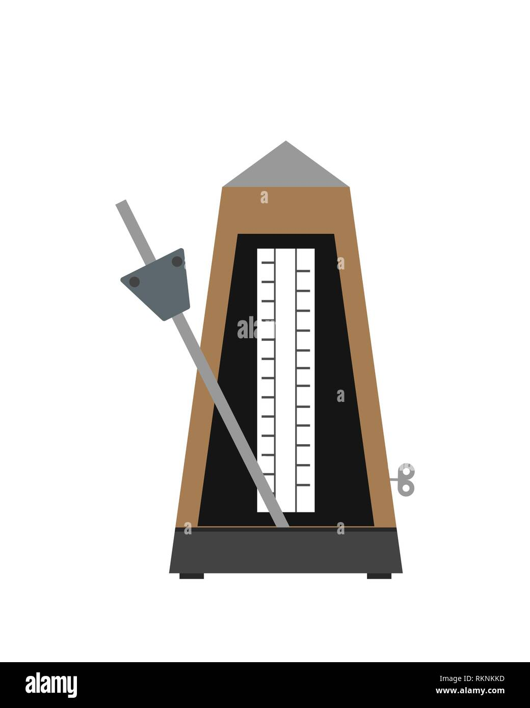 Classic Metronome with pendulum in motion. Equipment of music and beat mechanism. Vector Illustration - Stock Image