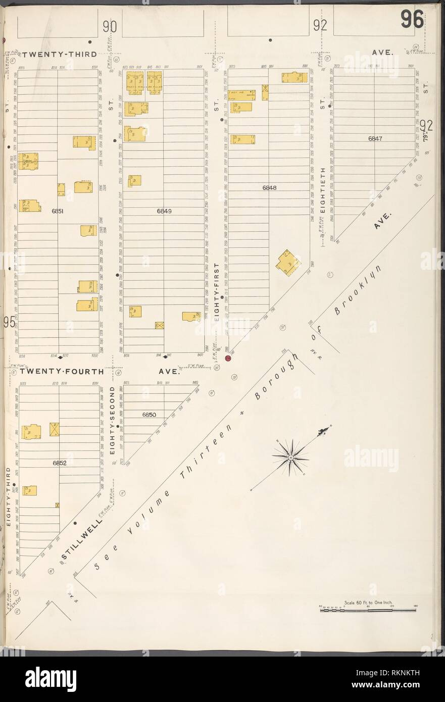 Brooklyn V. 12, Plate No. 96 [Map bounded by 23rd Ave., Stillwell Ave., 83rd St.]. Sanborn Map Company (Publisher). Atlases of New York City New York Stock Photo