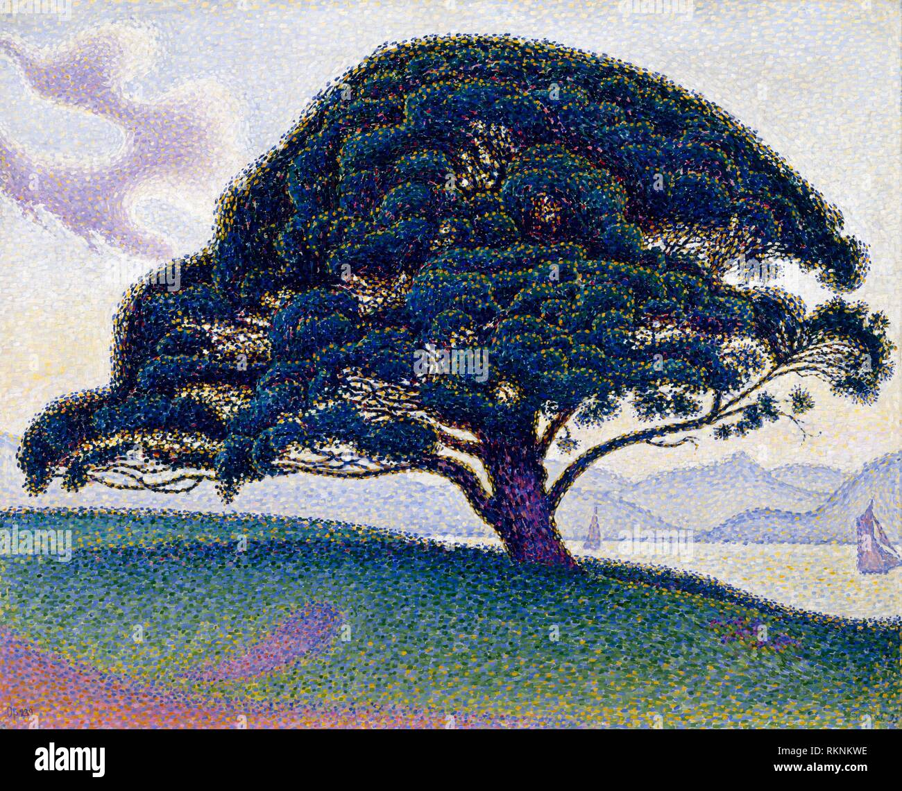 The Bonaventure Pine (1893) by Paul Signac, 1863–1935. The Museum of Fine Arts, Houston, USA. Stock Photo