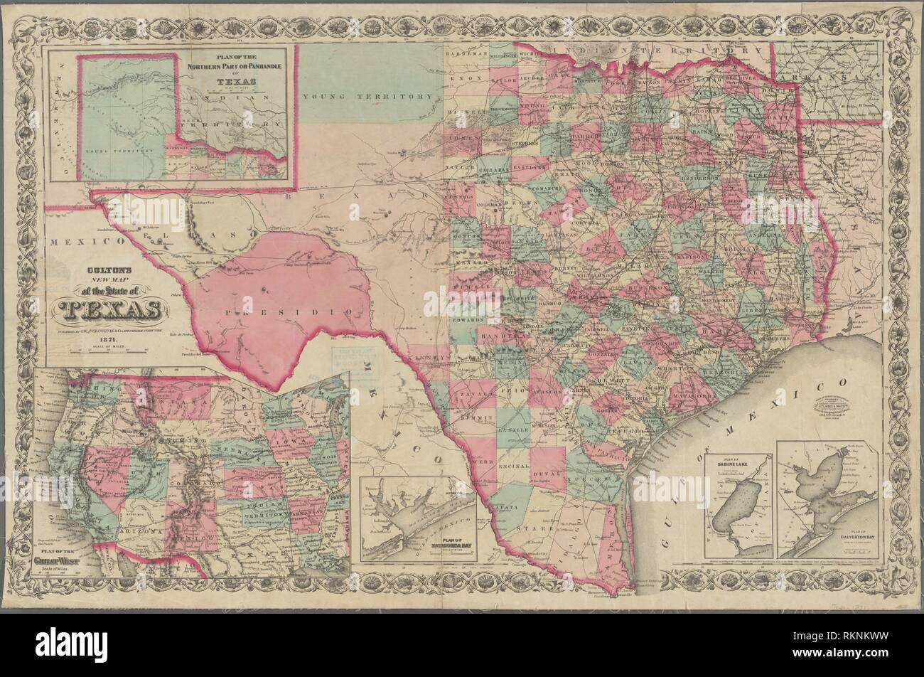 New Map Of Texas.Colton S New Map Of The State Of Texas Additional Title Colton S