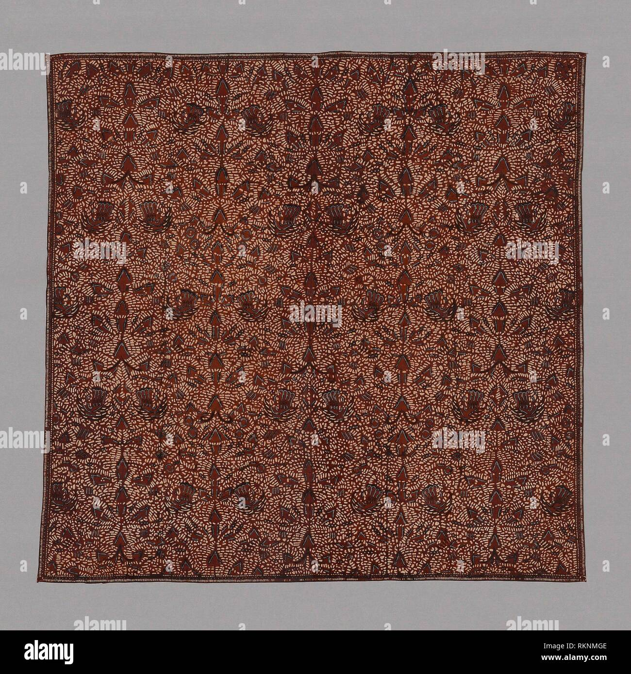 Iket (Headcloth) - 19th century - Indonesia, Central Java - Origin: Java, Date: 1801–1900, Medium: Cotton, batik dyed, Dimensions: 104.7 x 107.6 cm - Stock Image