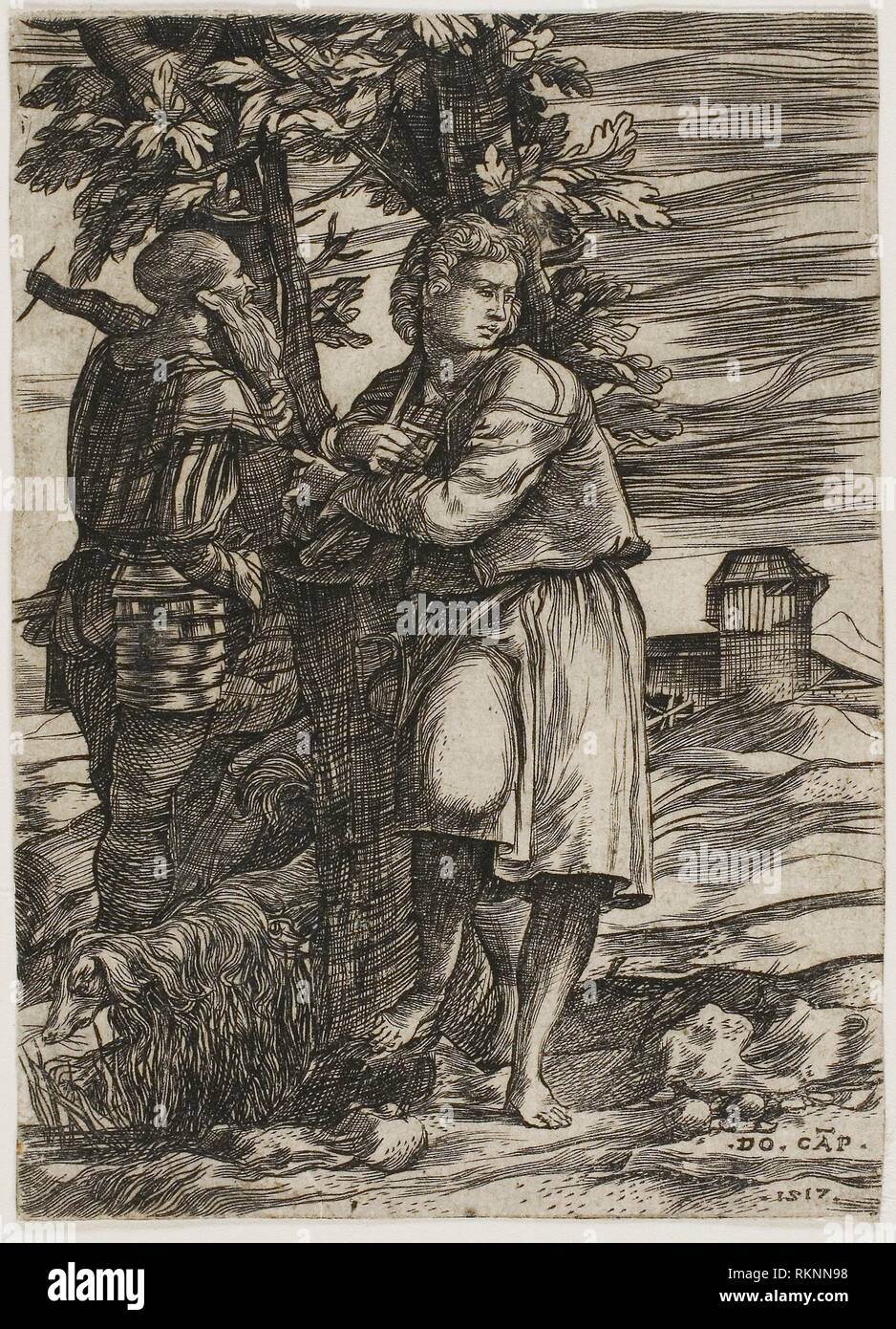 Shepherd and Old Warrior - 1517 - Domenico Campagnola Italian, c. 1500-1564
