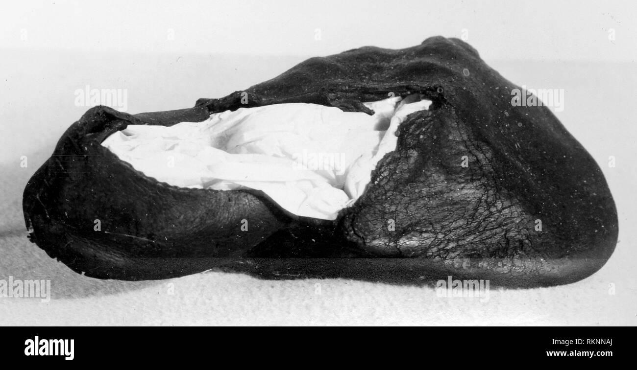 Bear's Paw Shoe - 16th century - England - Origin: England, Date: 1501–1600, Medium: Leather, Dimensions: 21.5 × 13 cm (8 1/2 × 5 in.) - Stock Image