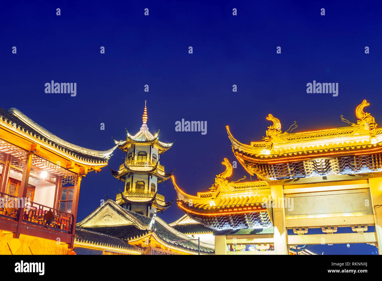 Zhouzhuang, Chinese ethnic style buildings and towers Stock Photo