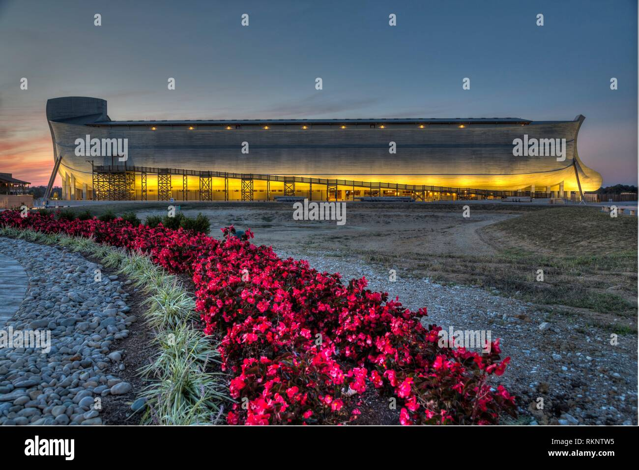The exterior of the Ark at dusk at The Ark Encounter, Williamstown, Kentucky, USA. - Stock Image