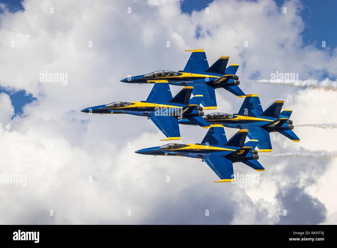 The Blue Angels air acrobatic team at the 2017 Airshow in Duluth, Minnesota, USA. - Stock Image