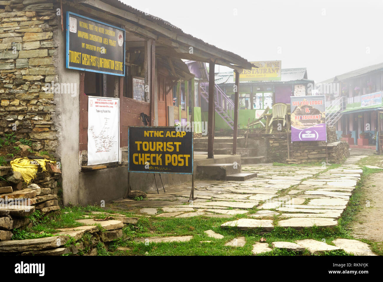 Tourist check post and information center  in the village of Pothana, Annapurna region, Nepal. - Stock Image