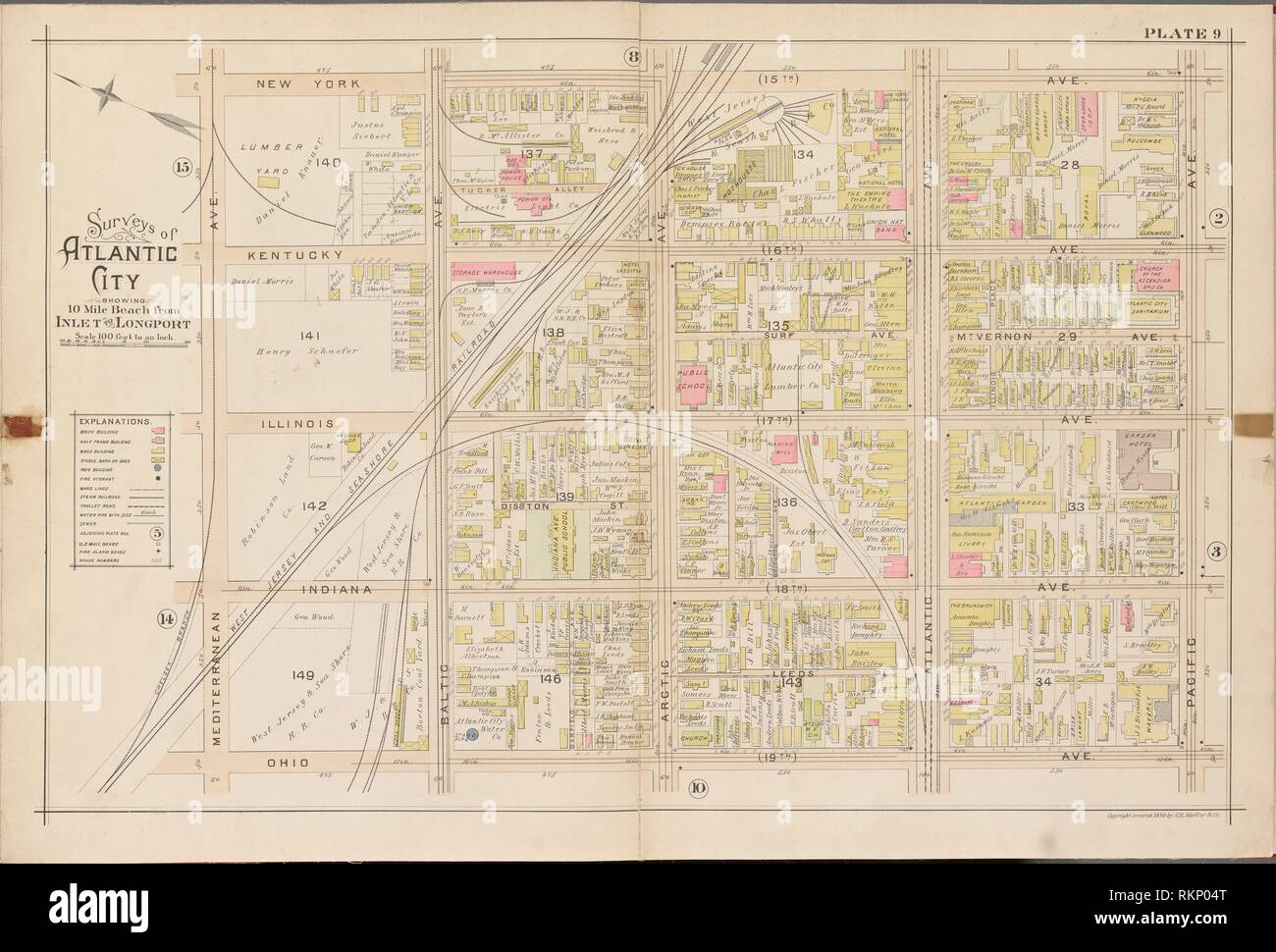 Map Of New York Ohio Area.Atlantic City Double Page Plate No 9 Map Bounded By New York Ave