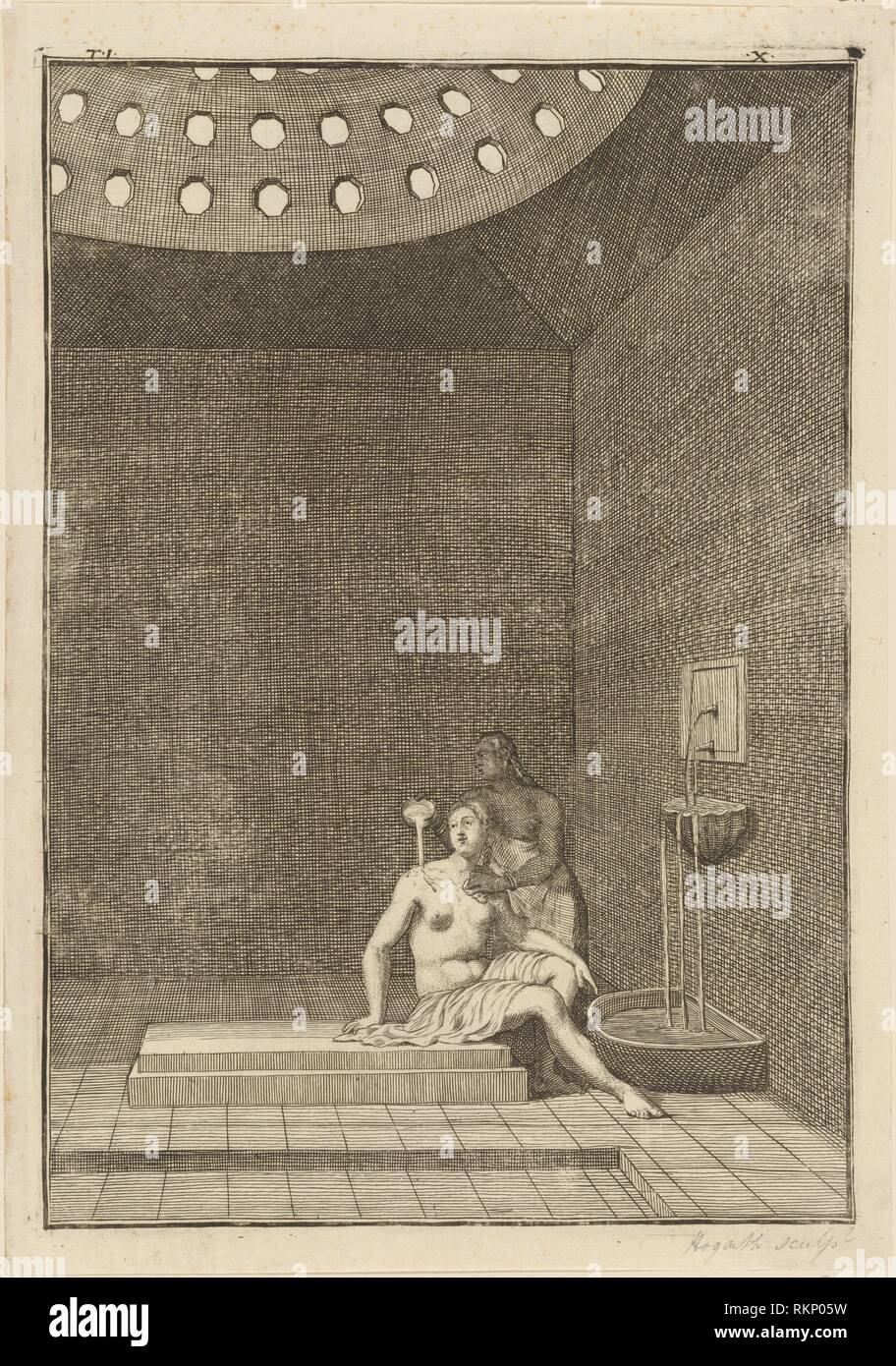 A Turkish Bath. Hogarth, William, 1697-1764 (Printmaker). William Hogarth: prints. Date Created: 1723. Prints. Still image. - Stock Image