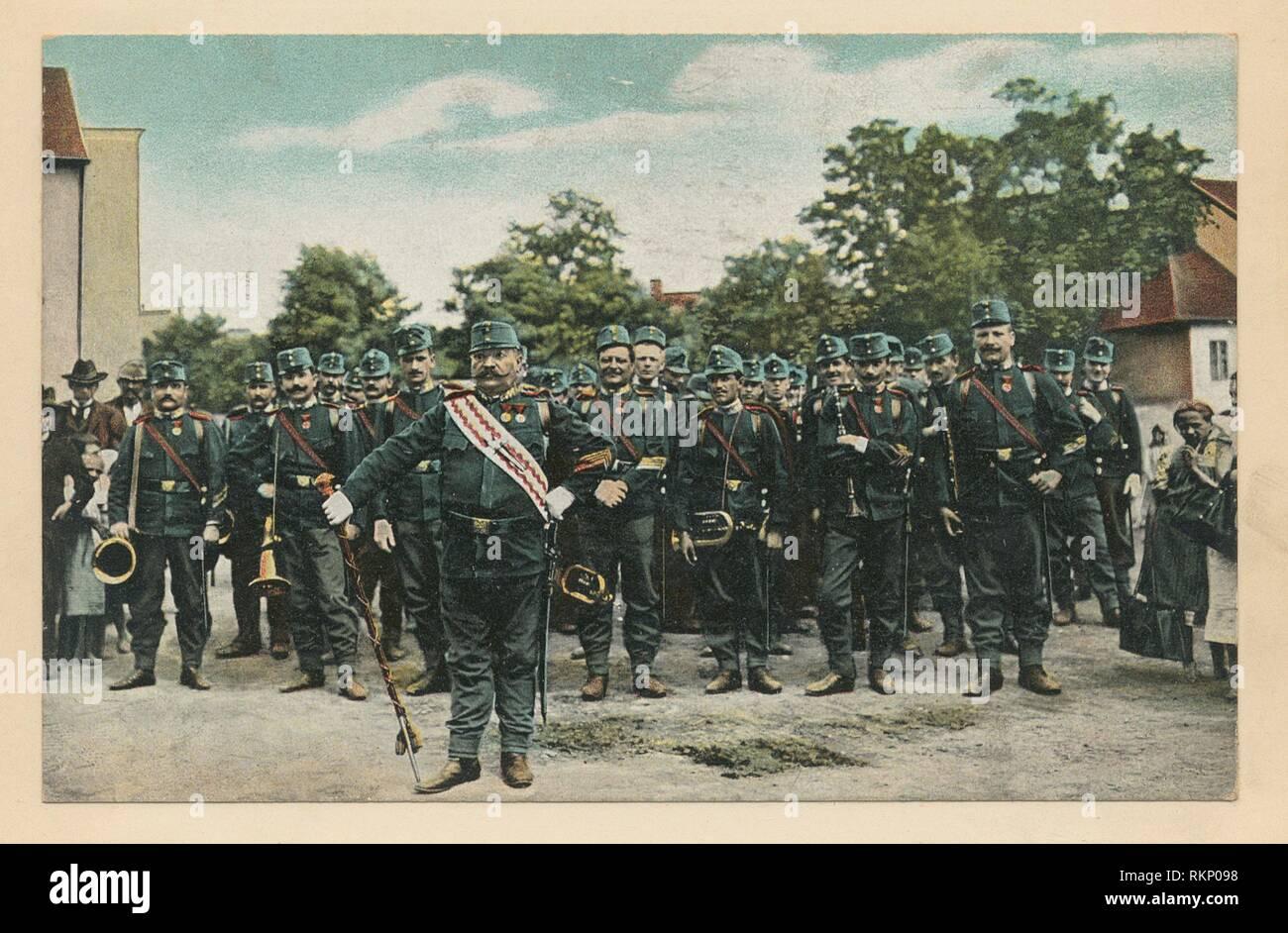 Band of an Austrian infantry regiment. Vinkhuijzen, Hendrik Jacobus (Collector). The Vinkhuijzen collection of military uniforms Austria Austria, - Stock Image