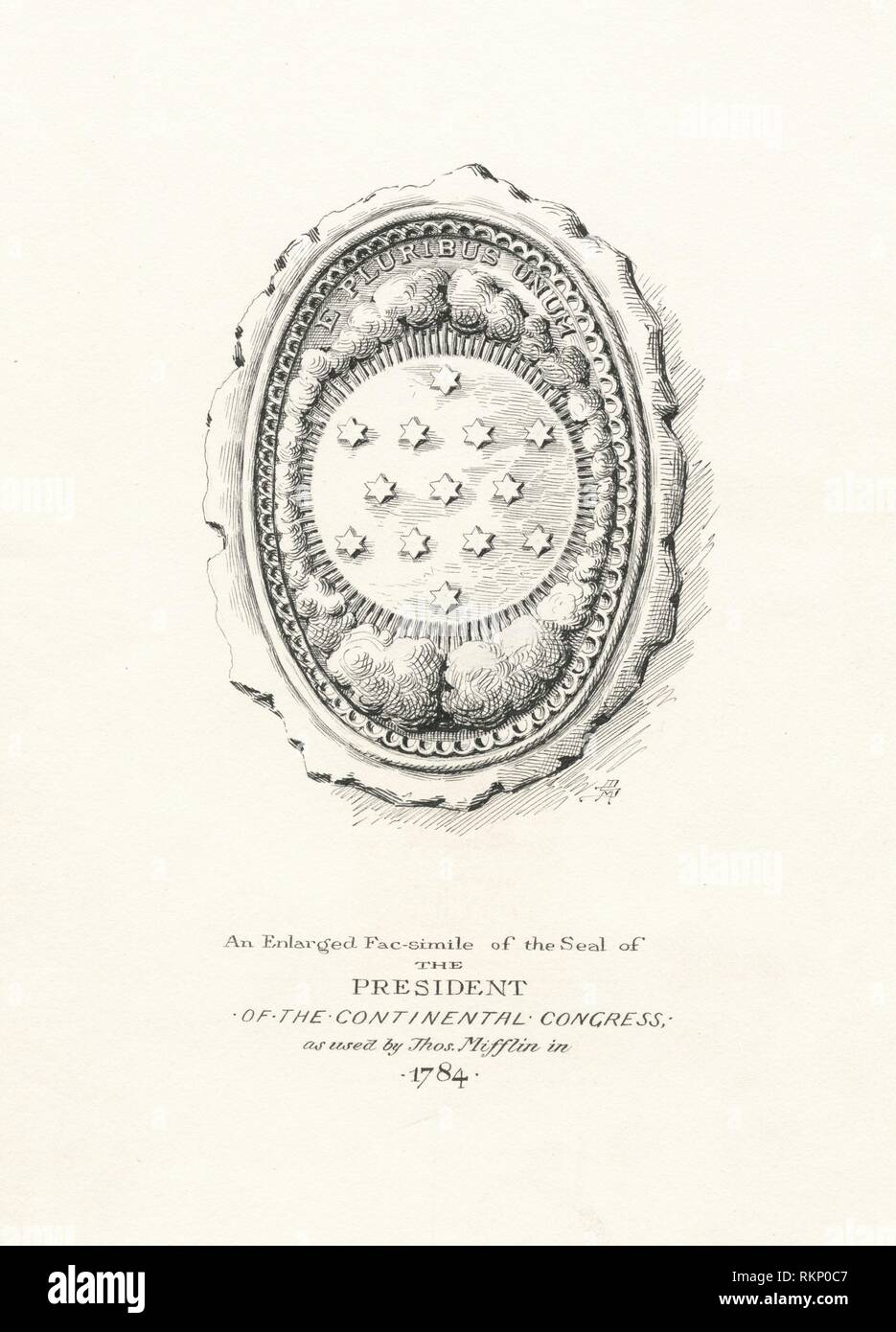 An enlarged fac-simile of the seal of the president of the Continental Congress as used by Thomas Mifflin in 1784. Stauffer, David McNeely - Stock Image