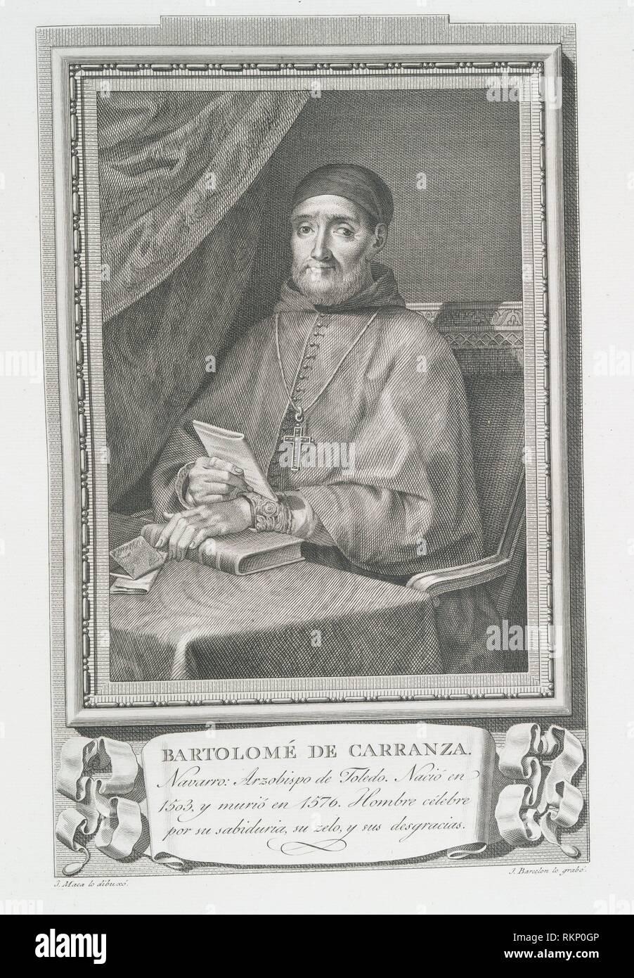 Bartolomé de Carranza. Maea, José (1759-1826) (Artist) Barcelon, Juan (Engraver). Retratos de los Españoles ilustres, con un epítome de sus vidas. - Stock Image