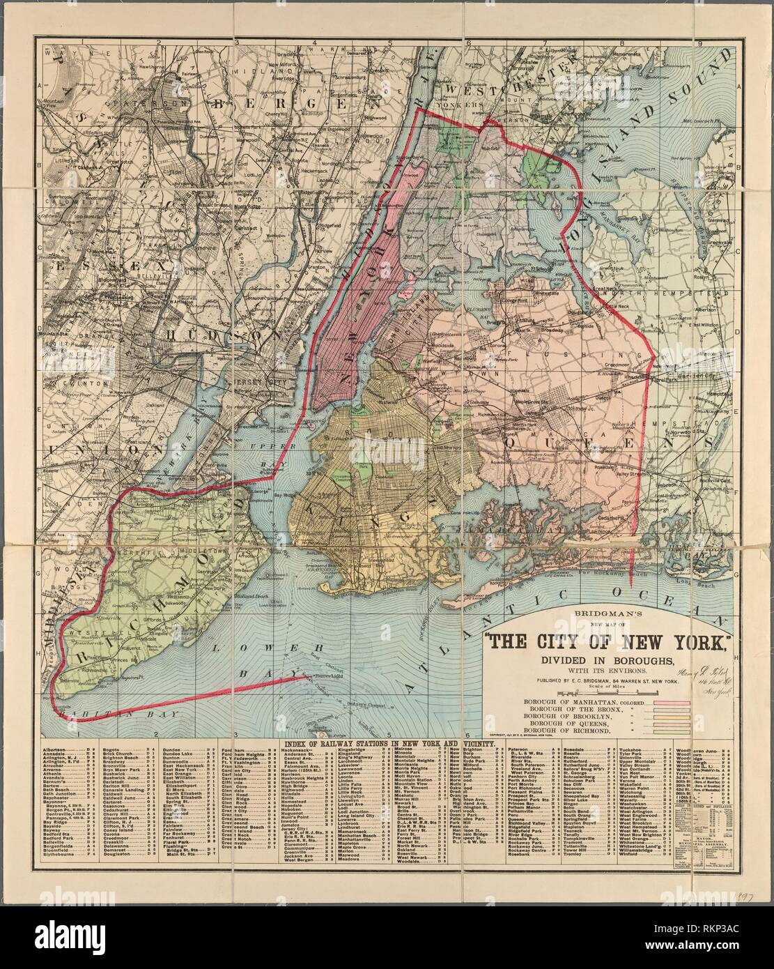Map Of Cities In New York State.Bridgman S New Map Of The City Of New York Divided Into Boroughs