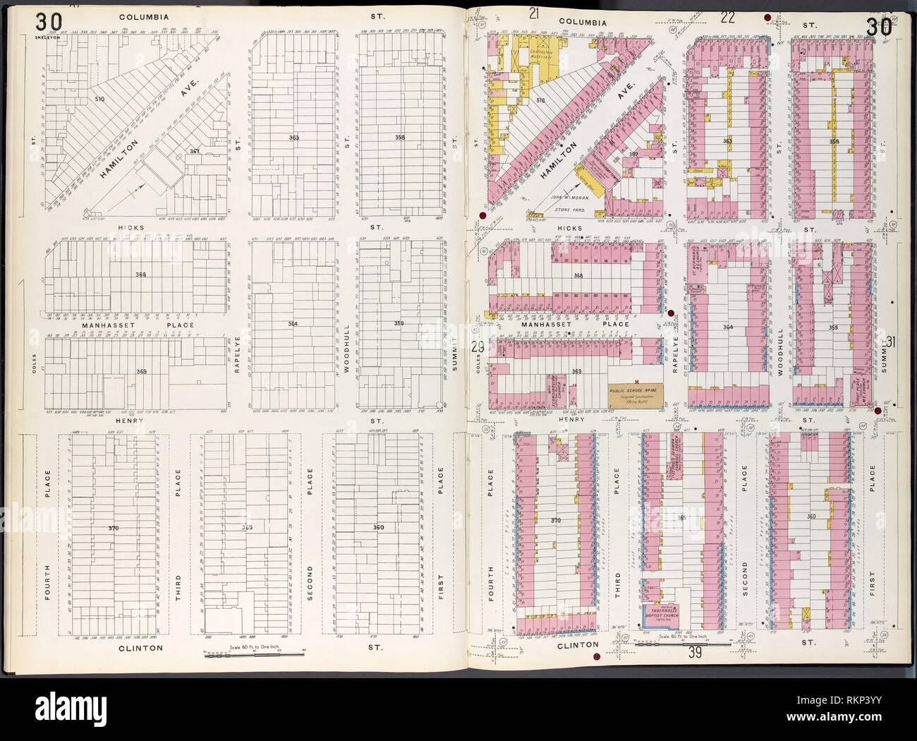 Brooklyn Plate No. 30 [Map bounded by 4th Place, Columbia St., Summit St., 1st Place, Clinton St.]. Sanborn Map Company (Publisher). Atlases of New - Stock Image