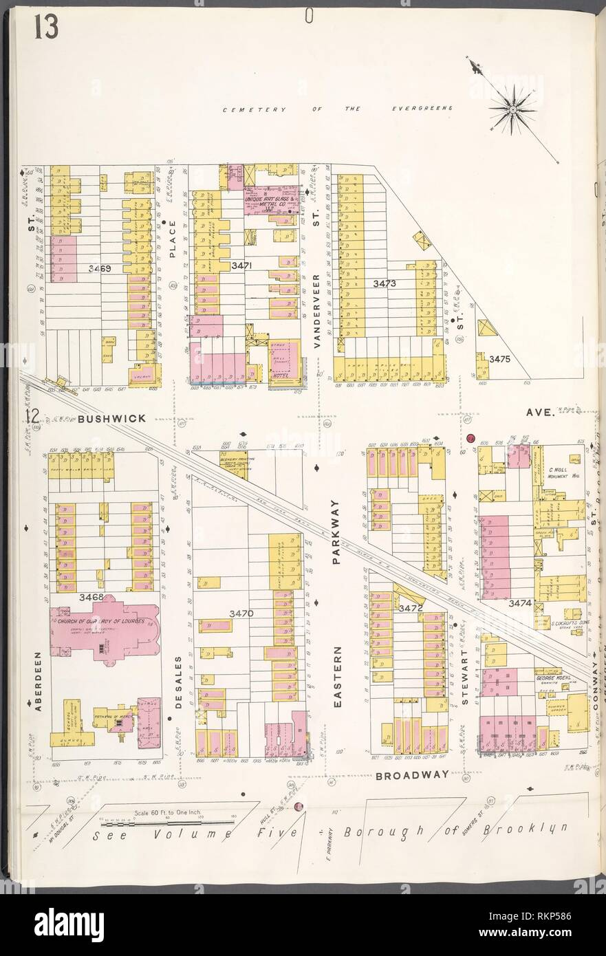 Brooklyn V. 9, Plate No. 13 [Map bounded by cemetery of the Evergreen, Oonway St., Broadway, Aberdeen St.]. Sanborn Map Company (Publisher). Atlases Stock Photo