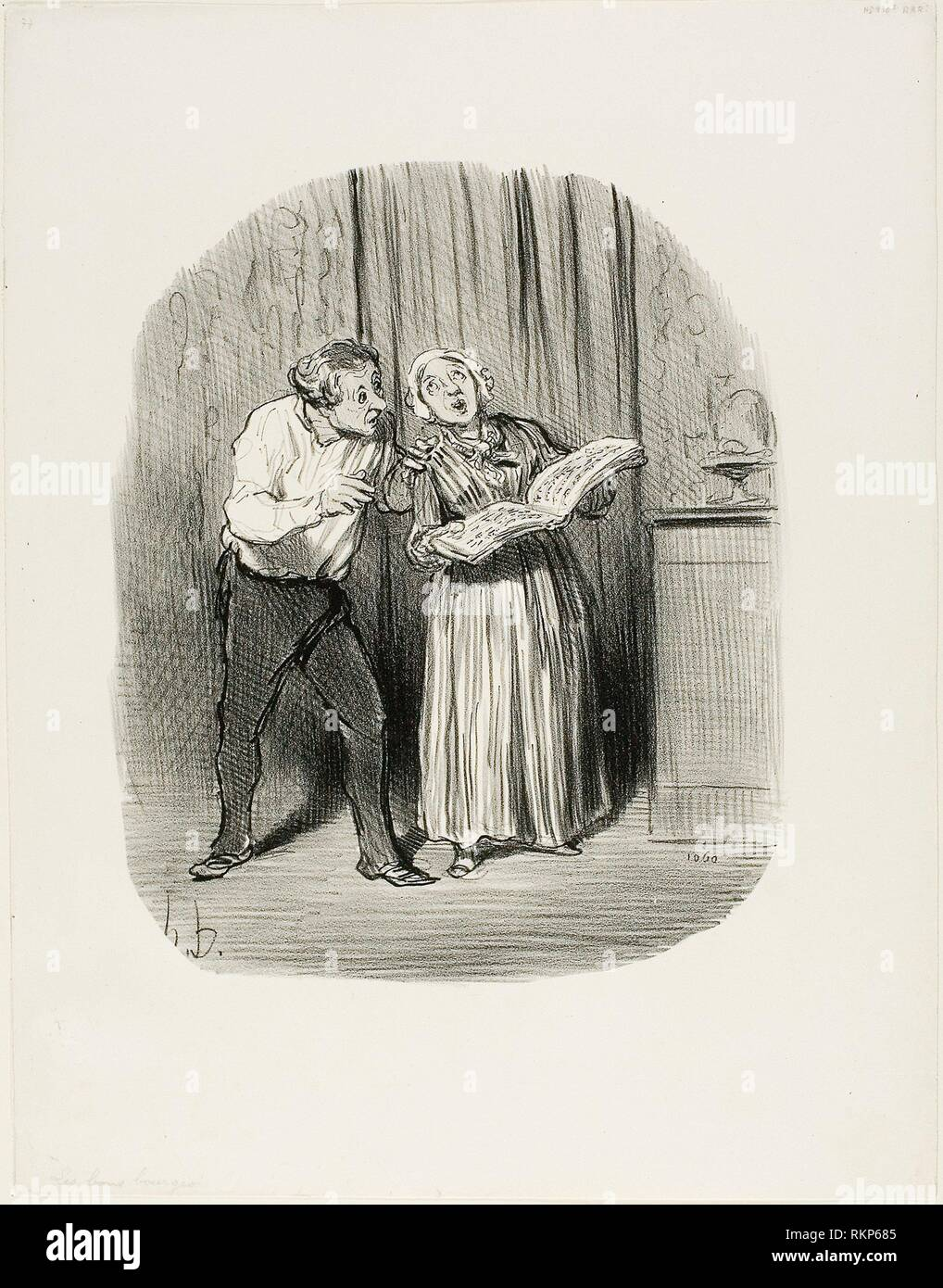 Disadvantage of Marrying a Woman with a So-Called Artistic Talent, plate 77 from Les Bons Bourgeois - 1847 - Honoré Victorin Daumier French, - Stock Image
