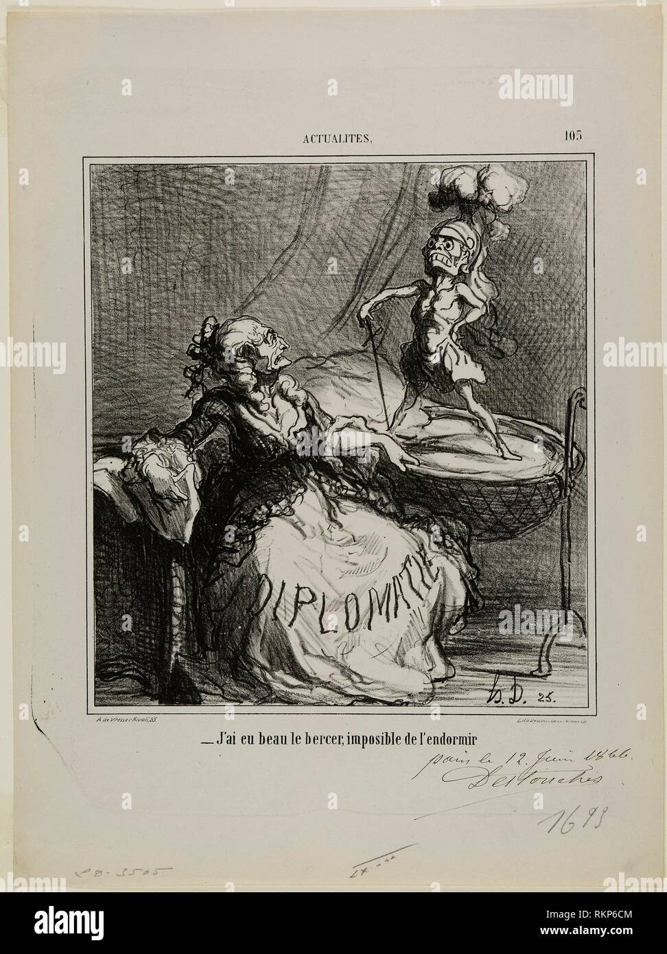"""- No matter how much I rock him, it is impossible to make him fall asleep,"" plate 105 from Actualités - 1866 - Honoré Victorin Daumier French, - Stock Image"