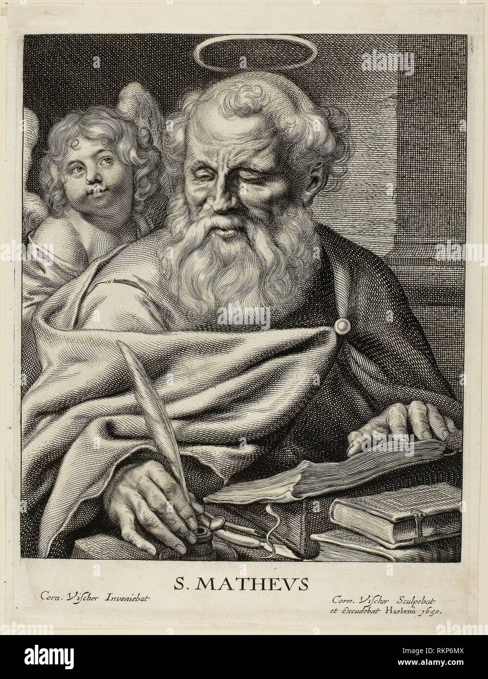Saint Matthew - Cornelis Visscher Dutch, c. 1629-1658 - Artist: Cornelis Visscher, Origin: Holland, Date: 1649-1658, Medium: Engraving on ivory Stock Photo