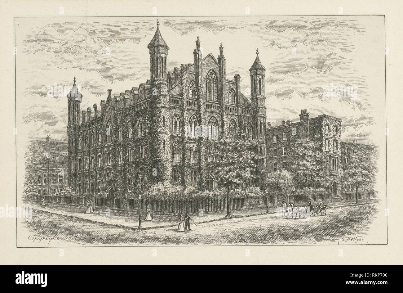 College of the city of New York. Hollyer, Samuel (1826-1919) (Artist). I. N. Phelps Stokes Collection of American Historical Prints Individual - Stock Image