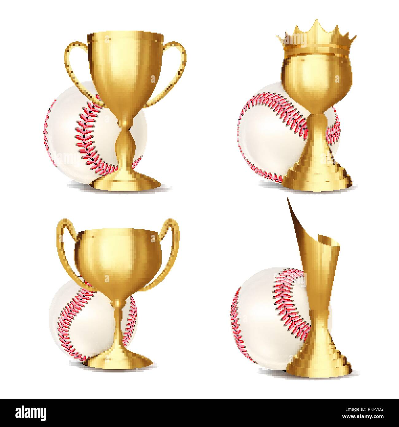 Baseball Game Award Set Vector. Baseball Ball, Golden Cup. Modern Baseball Tournament. Design For Sport Promotion. Certificate, Diploma. Sport Event Stock Vector